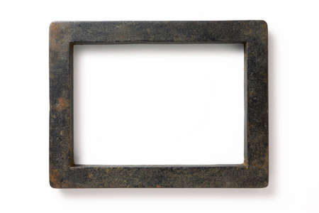 The metal frame used in letterpress printing into which type is locked to make up a page or forme Stock Photo