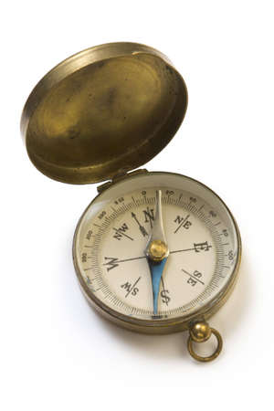 magnetic north: An old pocket compass in a brass case Stock Photo