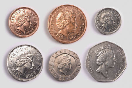 British coins: one pence coin, two pence coin, five pence coin, ten pence coin, twenty pence coin, fifty pence coin Stock Photo