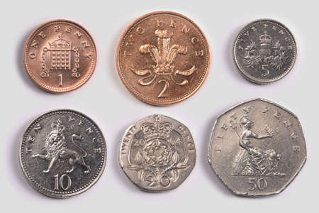 British coins: one pence coin, two pence coin; five pence coin; ten pence coin; twenty pence coin; fifty pence coin Stock Photo