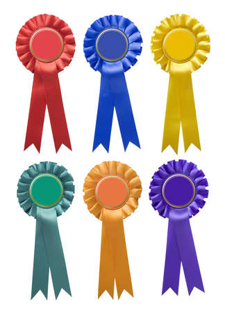 Six single-tier rosettes in various colours isolated on white