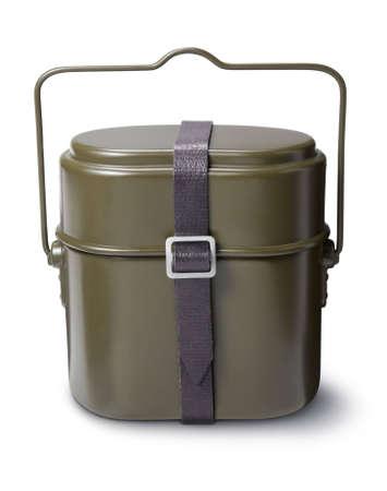 Khaki coloured military billy can Stock Photo - 3412847