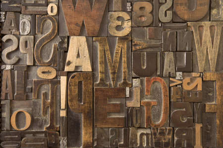 An assortment of old wooden and metal type blocks Stock Photo - 3412855