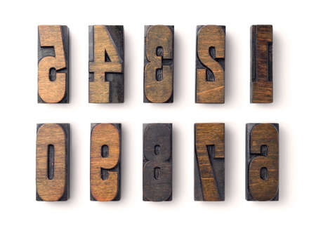 A complete set of wood type numbers isolated on white Stock Photo - 3468203