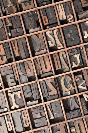 letterpress letters: Printers tray containing letterpress letters and numerals