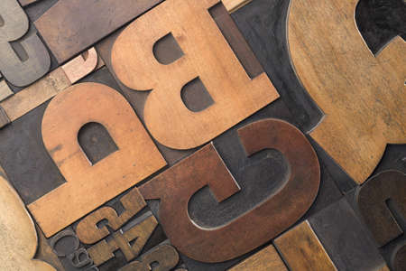 Close-up of letterpress letters and numerals Standard-Bild