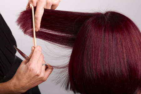 Close-up shot of hairdresser in action Stock Photo