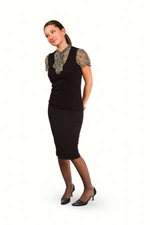 Business woman standing with sideways glance