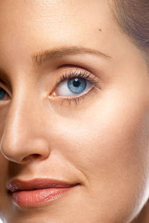 Close-up of beautiful woman's face showing clean complexion Stock Photo