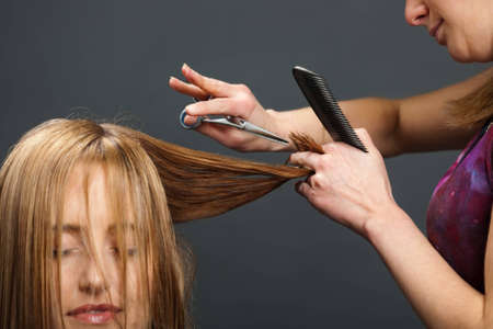 Studio photograph of hairdresser cutting customers hair photo