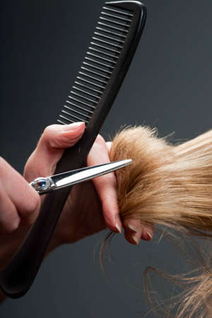Close-up of hairdressers hands cutting hair
