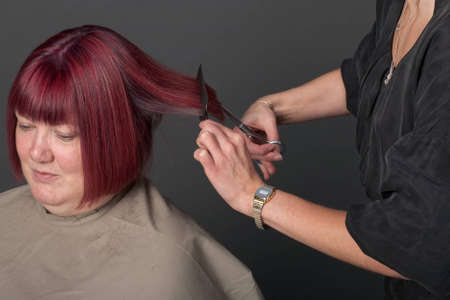 Studio shot of hairdresser cutting woman's hair photo