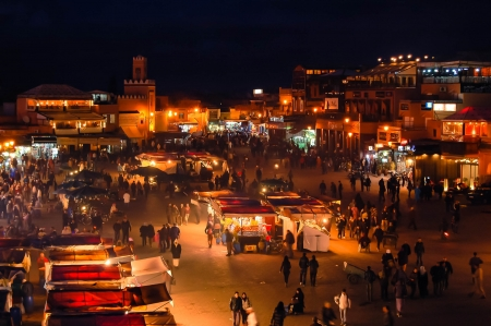 night market: Djemaa el Fna square in Marrakech, Morocco at night