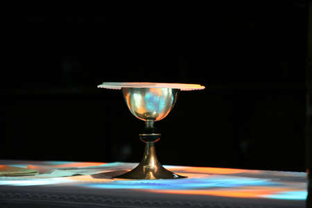 Bowl on the altar of the Catholic church photo