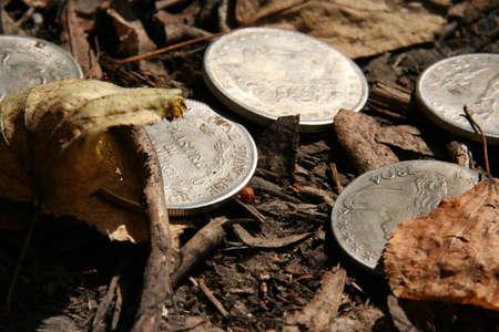 monedas antiguas: Monedas de plata Foto de archivo