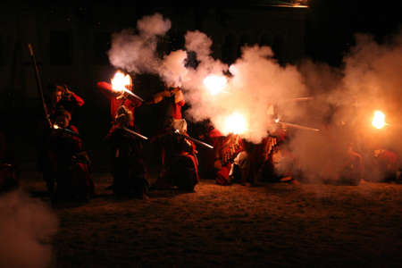musket: Night volley of musket Stock Photo