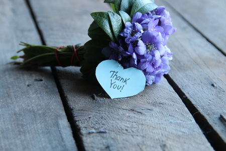 thank you, written on heart Stock Photo