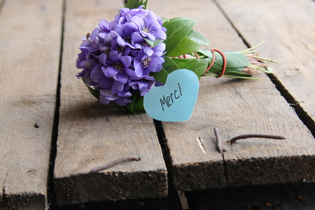 Merci written on tag and a bouquet of violets Stock Photo