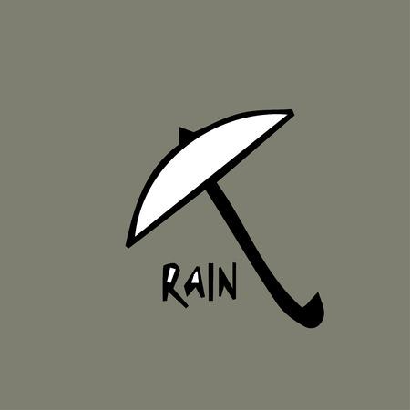 Symbol of umbrella with inscription rain flat icon design vector illustration Illustration