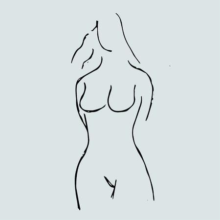 Perfect woman. Outline of young girl. Female figure.
