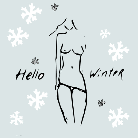 Hello Winter idea. Sexy Girl undressing and snowing. Illustration