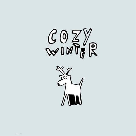 Freehand drawing of a deer and the inscription Cozy Winter .