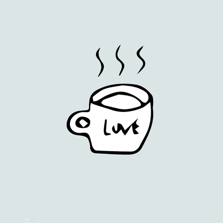 Freehand drawing of a  mug and the inscription love.