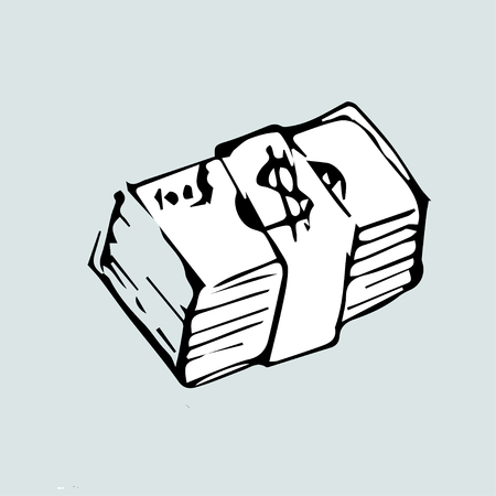 Vector illustration. Hand-drawn pack of dollars.