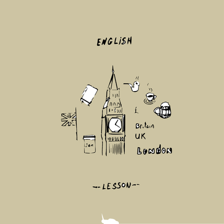 English lesson. Drawing by hand concept. Vector illustration. Stock Illustratie