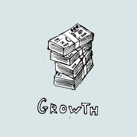 Money growth idea. Bundles of money and the inscription. Vector illustration.