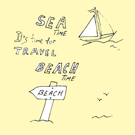 Beach time is an idea. Pointer to the beach. Vector illustration. Çizim