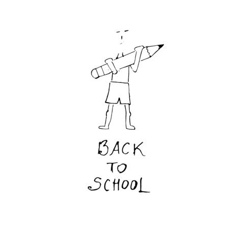 Back to school inscription and drawing of a boy with a pencil in his hands. Vector illustration.