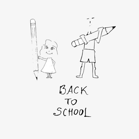 Back to school inscription and drawing - Boy and girl hold pencils. Vector illustration.