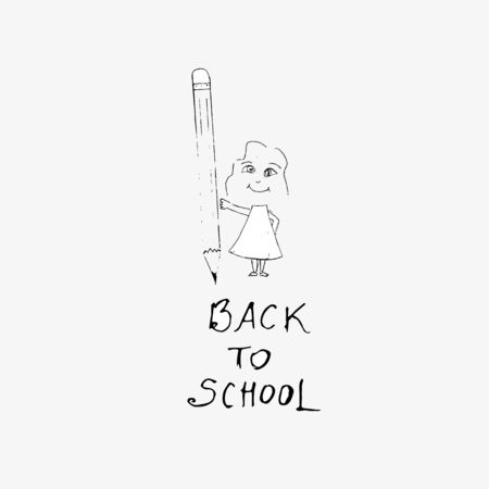 Back to school inscription and drawing of a  girl with a pencil in his hands. Vector illustration. Illustration