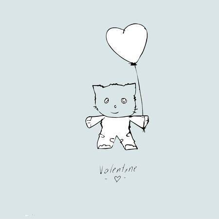 Valentine card, hand drawn template on a blue background, Archivio Fotografico - 135491790