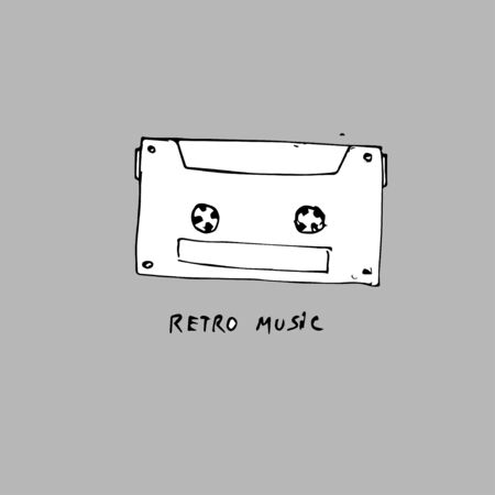 retro music concept, hand-drawn concept on a gray background