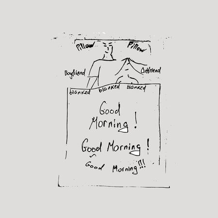 Good morning concept. The guy with the girl are in bed. Hand-drawn concept on a gray background 向量圖像