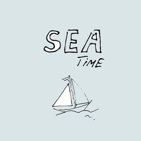 Sea time, hand-drawn concept on a blue background