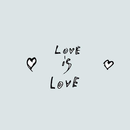 love is love creative hand-drawn concept on a blue background Stock Photo