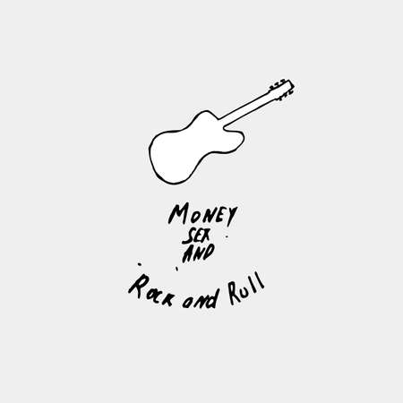 Money, Sex and Rock and Roll hand-drawn concept on a gray background Stock Photo