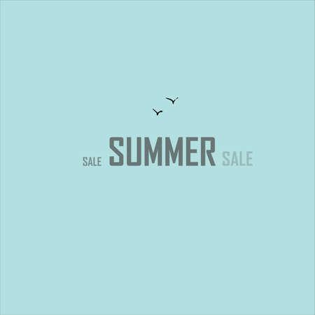 Summer sale creative concept. Vector illustration. Seagulls and the inscription.