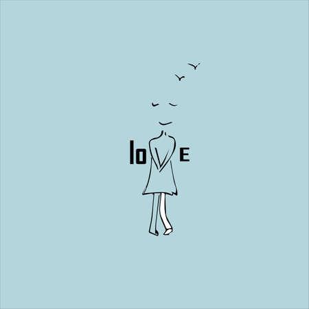 Love concept. Inscription and cute girl. Vector illustration. Illustration