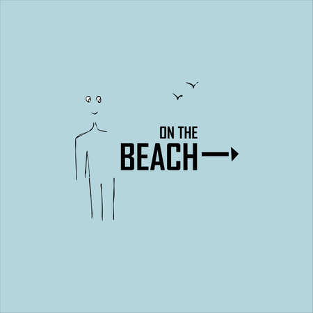 Pointer On the beach. Summer vacation idea. Vector illustration. Text about happy summer time.