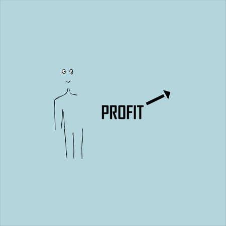 Profit growth concept. The inscription on a blue background. Vector illustration.