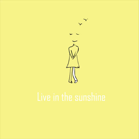Live in the sunshine concept. Lettering and girl. Vector illustration.