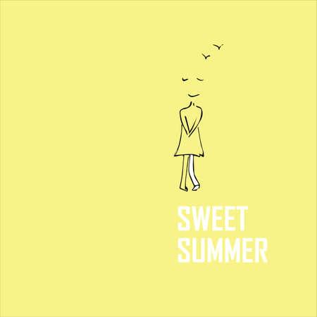 Sweet summer inscription and cute girl. Vector illustration.