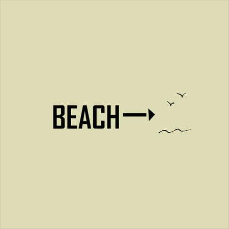 Pointer to the beach. Summer vacation idea, illustration.