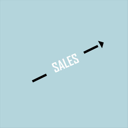 Sales growth concept. The inscription on a blue background. Vector illustration. Illustration