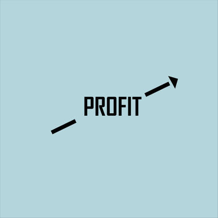 Profit growth concept. Inscription and arrow on a blue background. Stock Photo