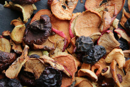 Healthy food concept. Dried fruits on the table. Stock Photo
